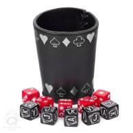 Zestaw kości pokerowych z czarno-srebrnym kubkiem (10)