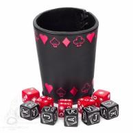 Zestaw kości pokerowych z czarno-czerwonym kubkiem (10)