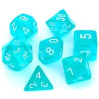 Komplet kości REBEL RPG - Kryształowe - Błękitne