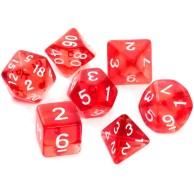 Komplet kości REBEL RPG - Kryształowe - Czerwone Kryształowe Rebel