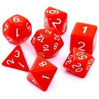 Komplet kości REBEL RPG - Matowe - Czerwone