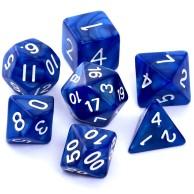 Komplet kości REBEL RPG - Perłowe - Ciemnoniebieskie