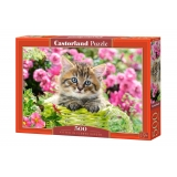 Puzzle 500 el. Kitten in Flower Garden