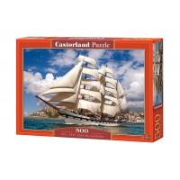 Puzzle 500 el. Tall Ship Leaving Harbour Marynistyka Castorland