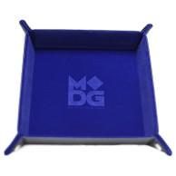 Składana tacka na kości ze skórzanym tyłem (niebieska) Pozostałe Metallic Dice Games