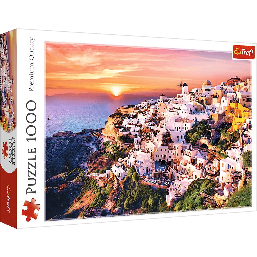 Puzzle 1000 el. Zachód słońca nad Santorini