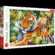 Puzzle 1500 el. Dwa tygrysy Zwierzęta Trefl