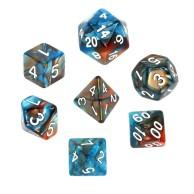 Komplet kości REBEL RPG - Dwukolorowe - Pomarańczowo-niebieskie