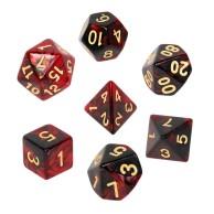 Komplet kości REBEL RPG - Dwukolorowe - Karminowo-czarne Dwukolorowe Rebel