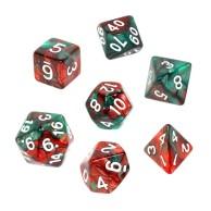 Komplet kości REBEL RPG - Dwukolorowe - Czerwono-zielone Dwukolorowe Rebel