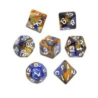 Komplet kości REBEL RPG - Dwukolorowe - Ciemnoniebiesko-żółte Dwukolorowe Rebel