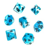 Komplet kości REBEL RPG - Dwukolorowe - Błękitno-białe Dwukolorowe Rebel