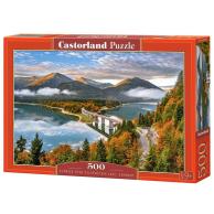 Puzzle 500 el. Wschód słońca nad jeziorem Sylvenstein