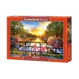 Puzzle 1000 el. Picturesque Amsterdam&Bicycles Malarstwo Castorland