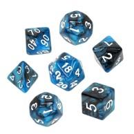 Komplet kości REBEL RPG - Dwukolorowe - Czarno-niebieskie Dwukolorowe Rebel