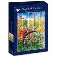 Puzzle 1000 Czerwony rower z ptakami Inspiracje bluebird puzzle